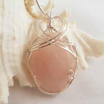 Wire Wrapped Rose Quartz Pendant, Handmade Jewerly
