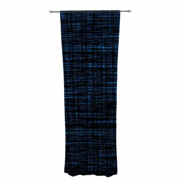 "Trebam ""Platno (Black And Blue)"" Black Blue Digital Decorative Sheer Curtain"