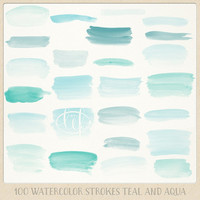Watercolor clipart strokes banners (100 pc) mint teal aqua blue turquoise. hand painted for logo design, blogs, cards, printables, wall art
