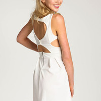 WHITE BUTTONED CUT-OUT DRESS