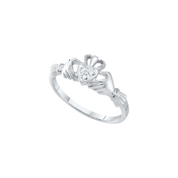 14kt White Gold Womens Round Diamond Dainty Claddagh Heart Ring .01 Cttw 23781