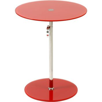 Radinka Adjustable Height Round End / Side Table Red Glass & Chrome