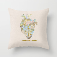 A Traveler's Heart Throw Pillow by Bianca Green