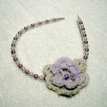 Pearly Headband, Crochet Flower , Lilac