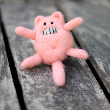 Grossed out pink needle felted cat
