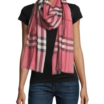 NEW Burberry Woven Gauze Giant Check Wool Silk Check Scarf Wrap Blush Pink