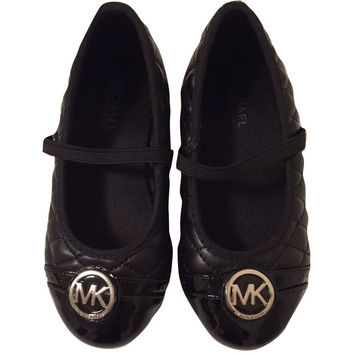 Michael Kors Lil Mallory Mary Jane Black Ballet Shoes Size 9 Girls