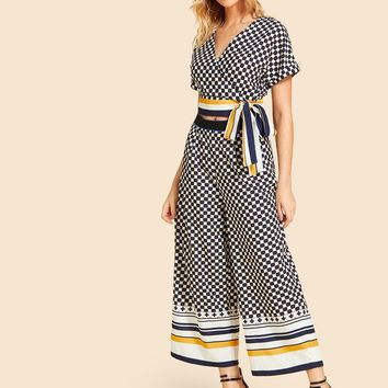 Geometric Knot Side Striped Panel Top With Pants