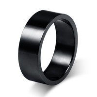 Size7-12 Couples 8mm Titanium Steel Black Rings for Men Wedding Bands Forever Love Promise Engagement Ring Anel Aneis R027