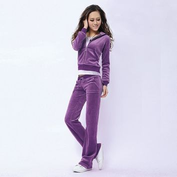 Juicy Couture Pure Color Velour Tracksuit 6047 2pcs Women Suits Purple