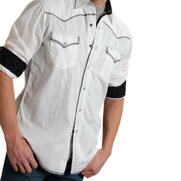 Roper Mens White Long Sleeve Performance Western Style Snap Shirt