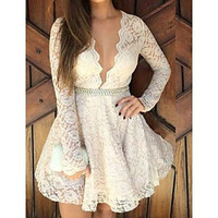 Women's Sexy Deep V Long Sleeve Skater Solid/Lace White Dress