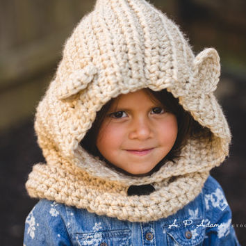 Bear Cowl, Hooded Bear Cowl, Bear Scoodie