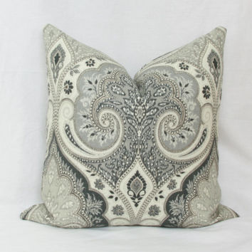 Gray & cream ikat pillow cover. Kravet Latika decorative pillow cover. 18 x 18. 20 x 20. 22 x 22. 24 x 24. 26 x 26. lumbar sizes.