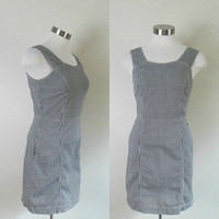 Guess Black and White Sheath Dress Checkered Bodycon Waisted Vintage 1990s