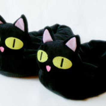 Kuroneko Slippers, Trigun Kuroneko Black Cat Slippers, Novelty Slippers - BunnySlippers.com