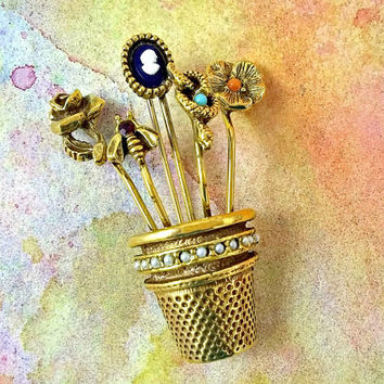 Vintage Garden Goldette Brooch Bee Rose Cameo Snake Flower Pin Thimble With Stick Pins Book Piece Turquoise and Orange Beads Red Rhinestone