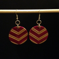 Recycled Skateboard Chevron Earrings
