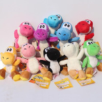 "Super Mario Bros Yoshi Plush Anime 4"" Keychain yoshi keychain phone chain soft stuffed plush toys doll 10 colors"
