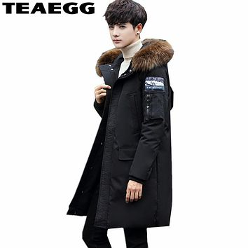 TEAEGG Winter Jacket Men Coat White Duck Down Jacket With Fur Hooded Parka 2017 Black Men Coats Masculine Jacket Plus Size AL109