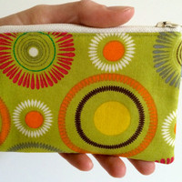 Coin Purse Coin Bag Small Cosmetic Clutch in Green Circle Tie Dye