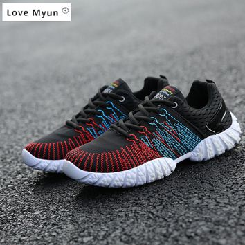 2017 New Men's Fashion Shoes Summer Zapato Casual Breathable Mesh Flat Exercise Jogging Footwear Mens Shoes Breathable yezzy