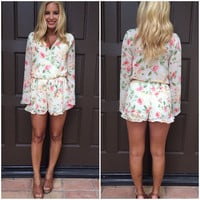 Dream In Pastel Petals Romper - IVORY