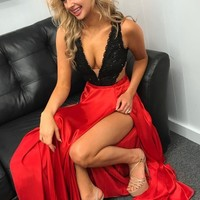 Gorgeous Black and Red Long Prom Dress with Detachable Train by lovekiss