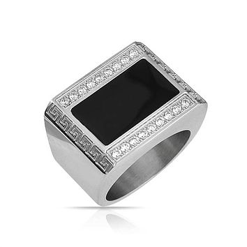 Men Geometric Rectangle CZ Greek Key Black Signet Ring Stainless Steel