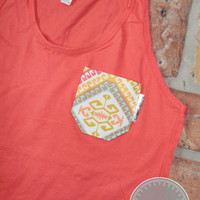 Coral Tank with Moroccan Fabric Pocket