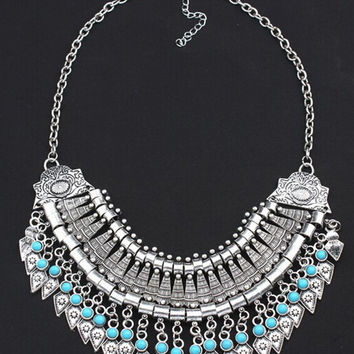 Silver Turquoise Beaded Ornate Collar Necklace