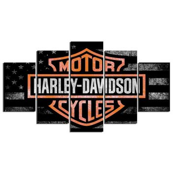 Harley Motorcycle Tank Emblem Medallion Wall Canvas 5 Panel Art Print Picture