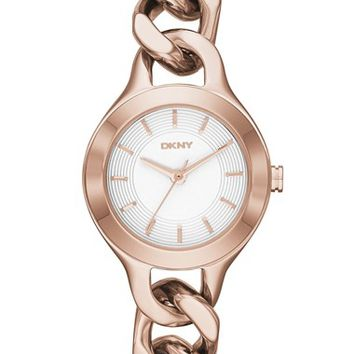 Women's DKNY 'Chambers' Round Chain Bracelet Watch, 24mm - Rose Gold