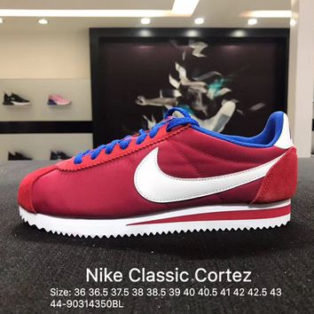 Nike Classic Cortez Suede Red White Blue Women's Men's Sport Running Shoes