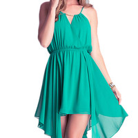 Green Strappy Asymmetrical Dress