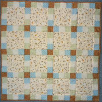 Baby Quilt, Childhood Toys Quilt, Teddy Bear Quilt, Blue Quilt , Green Quilt, Brown Quilt, Ivory Quilt, Boat Quilt, Blocks Quilt