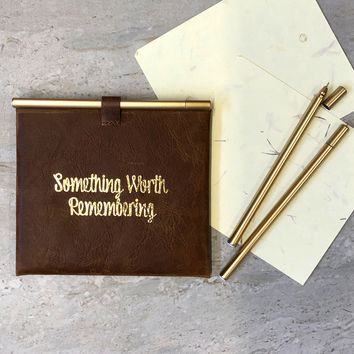 """Something Worth Remembering"" Leather Envelop and Cards"