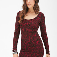 FOREVER 21 Baroque Print Bodycon Dress Burgundy/Black