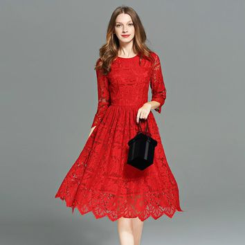 2017 Autumn Women Lace Dress O-Neck Elegant Flare 3/4 Sleeves Red Dress Plus Size Knee Length Vintage Vestido Hollow Out Dresses