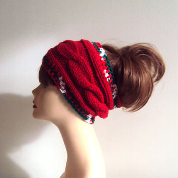 Hand Knit Red Headband Cable Knit Ear Warmer Cowl Neckwarmer Dreadlock Rasta Christmas Headband Women Winter Fashion Accessories Gift Ideas