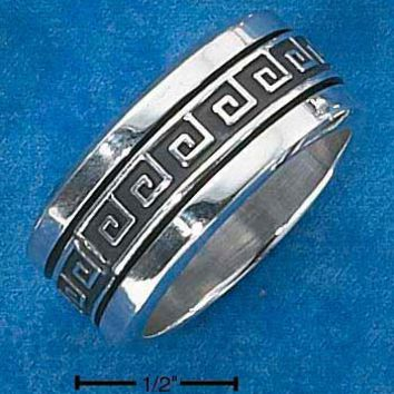 Sterling Silver Mens Worry Ring With Greek Key Spinning Band