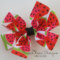 Pinwheel Hairbow, Red Pink Black Green, Watermelon Hairbow, Toddler Hair Bows, Hair Clips, Petite Bows, 3 Inch, Girls Hairbows, Toddler