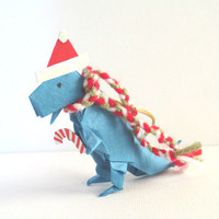 Origami Dinosaur Ornament, T-Rex with Santa Hat and Scarf, Blue
