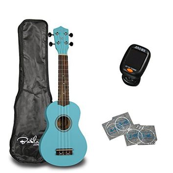"ADM 21"" Economic Soprano Ukulele Start Pack with Gig bag, Tuner, Blue"