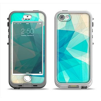 The Vector Abstract Shaped Blue Overlay V2 Apple iPhone 5-5s LifeProof Nuud Case Skin Set