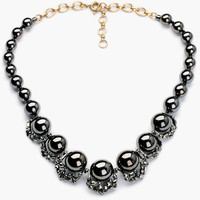Black Pearl with Rhinestone Accent Necklace