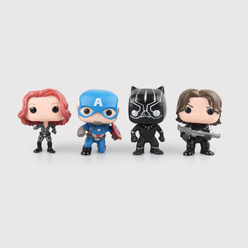 Captain America 3 Civil War Avengers Black Widow Black Panther Winter Soldier FUNKO POP Series PVC Action Figure Toys Doll 10CM