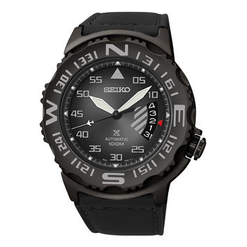 Seiko SRP579 Men's Watch Limited Edition Gunmetal Case Automatic Rotating Compass Bezel