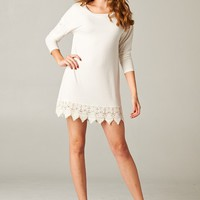 Emerald Collection Off White Lace Trimmed Tunic