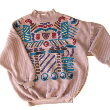 Southwestern Sweatshirt Oversized Ribbed Mock Neck Pullover Vintage 80s Puffy Paint Sweater Hipster Tribal Boho Sweatshirt Womens XL Large